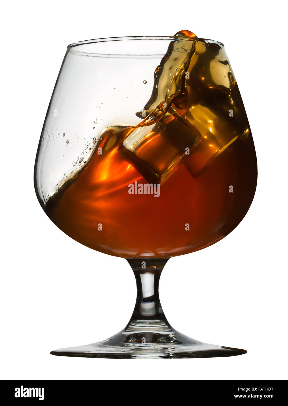 glass of brandy isolated on white background. Stock Photo