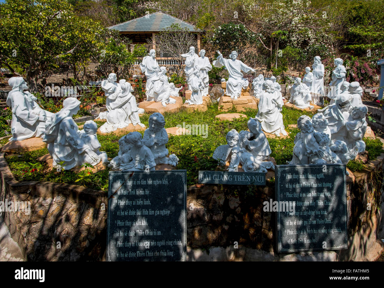 Catholic religious monument in in Tuong Thanh Gioc, Vung Tau, Vietnam. Highlight to any  is the 32 metre high statue - Stock Image