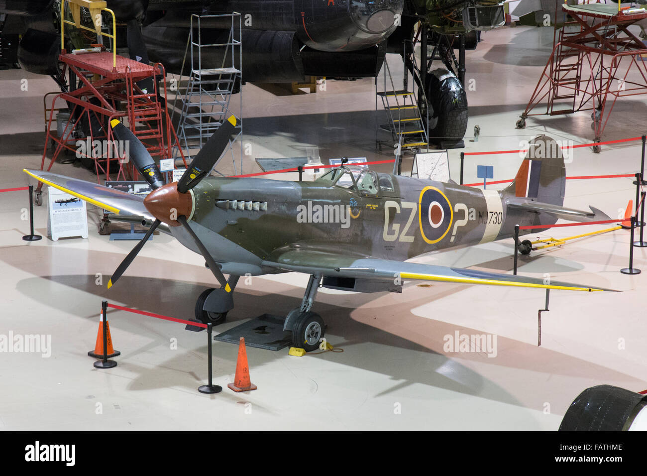 A Spitfire World War Two airplane inside the Canadian