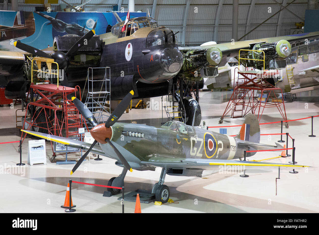 A Spitfire and Lancaster bomber inside the Canadian Warplane Heritage Museum in Hamilton, Ontario. - Stock Image