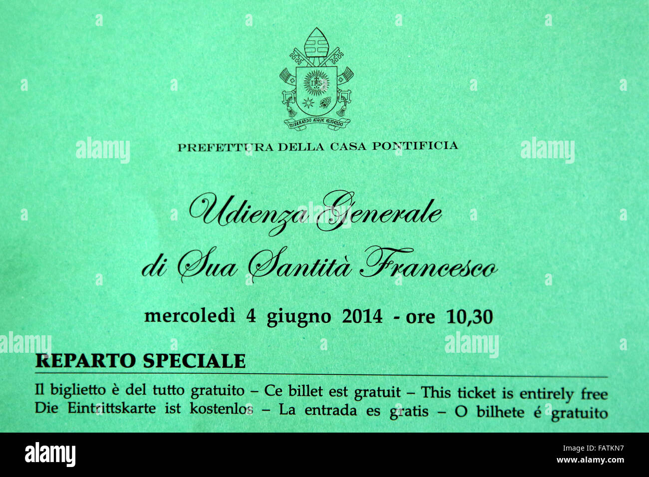 Ticket to a general audience with Pope Francis held weekly on Wednesdays in St Peters Square - Stock Image