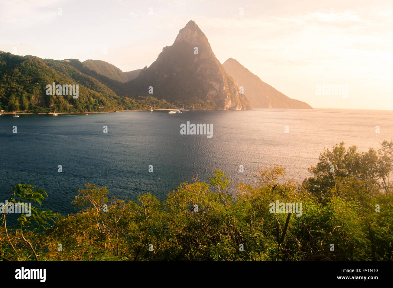 spectacular pitons of st lucia - Stock Image