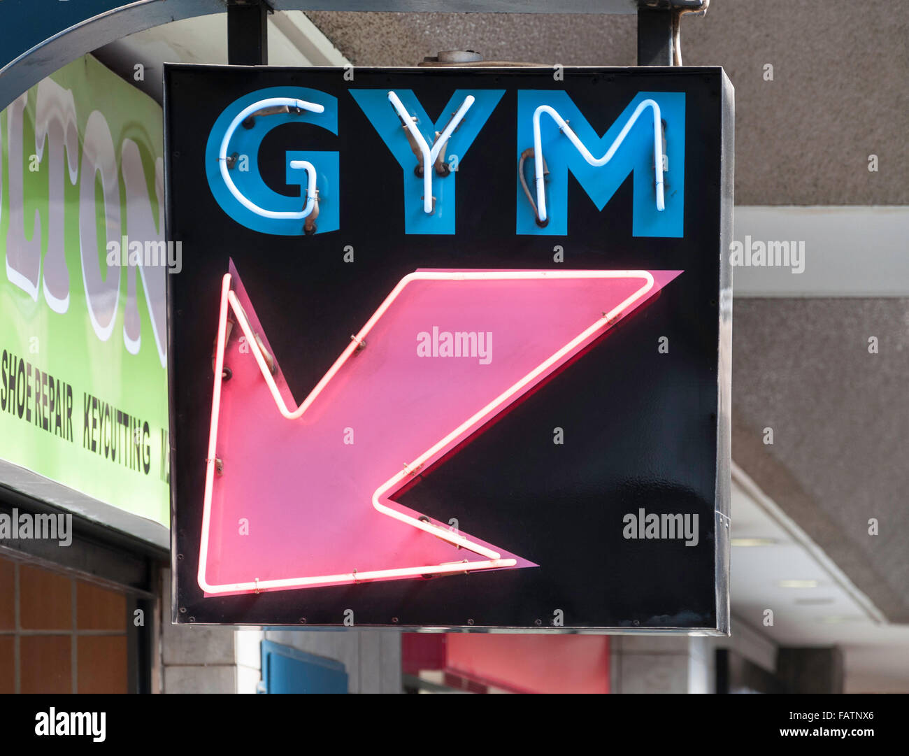 Neon sign for gym, Springs, Ekurhuleni Metropolitan Municipality, Gauteng Province, Republic of South Africa - Stock Image
