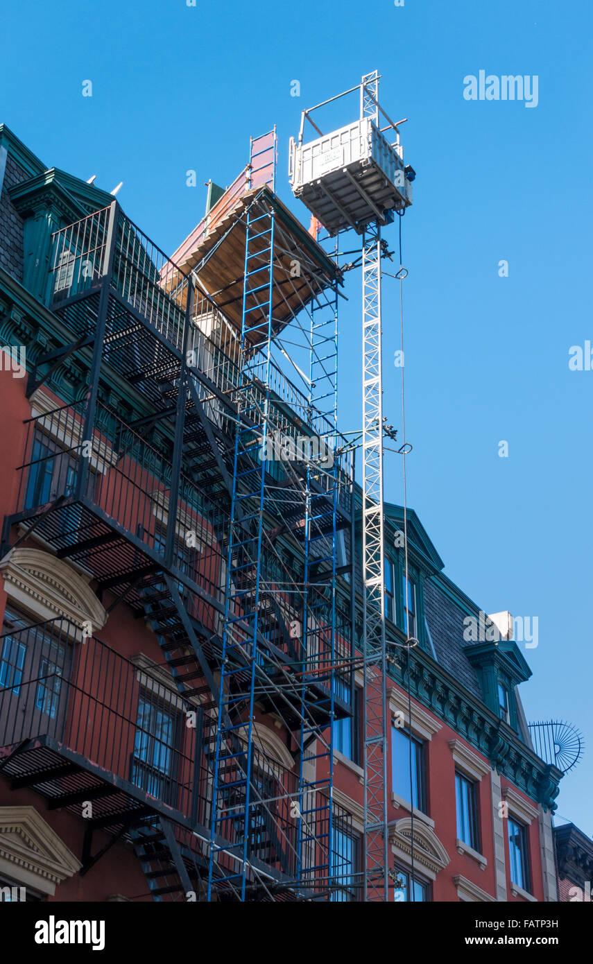 A construction hoist in Lower Manhattan in New York City