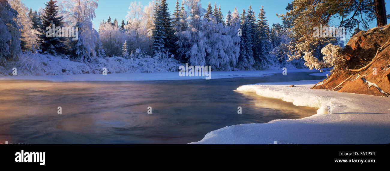 Dal River in winter in Dalarna Provence of Sweden - Stock Image