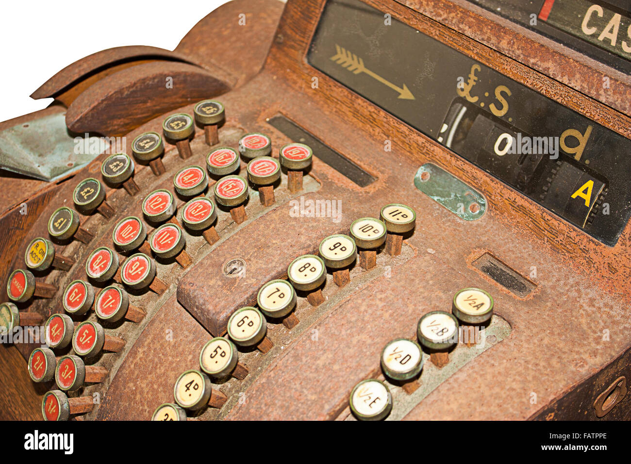 an old cash register on a white background - Stock Image