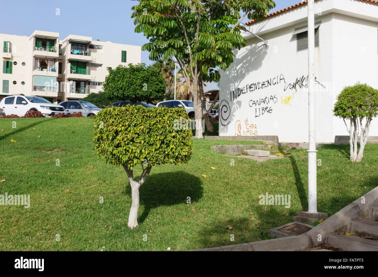 Tenerife, Canary Islands - Playa las Americas. Canarias libras independence graffiti. - Stock Image