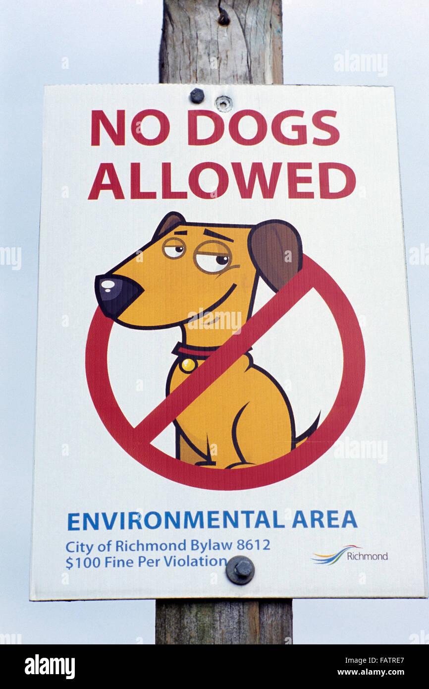 Funny Humorous / Humourous Sign advising No Dogs Allowed in Environmental Area - Stock Image