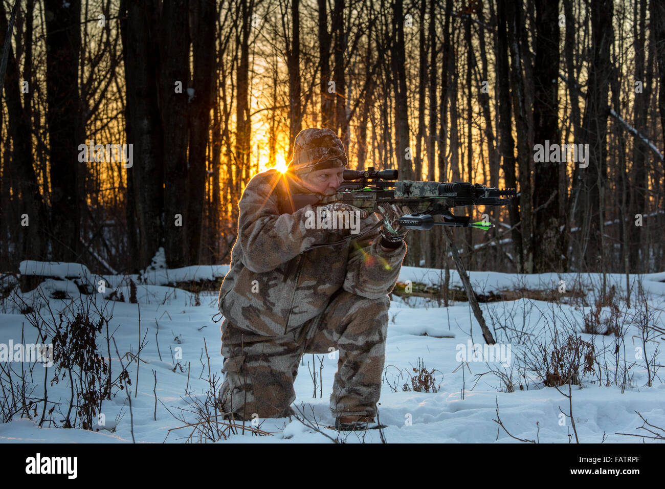 Crossbow hunter taking aim - Stock Image