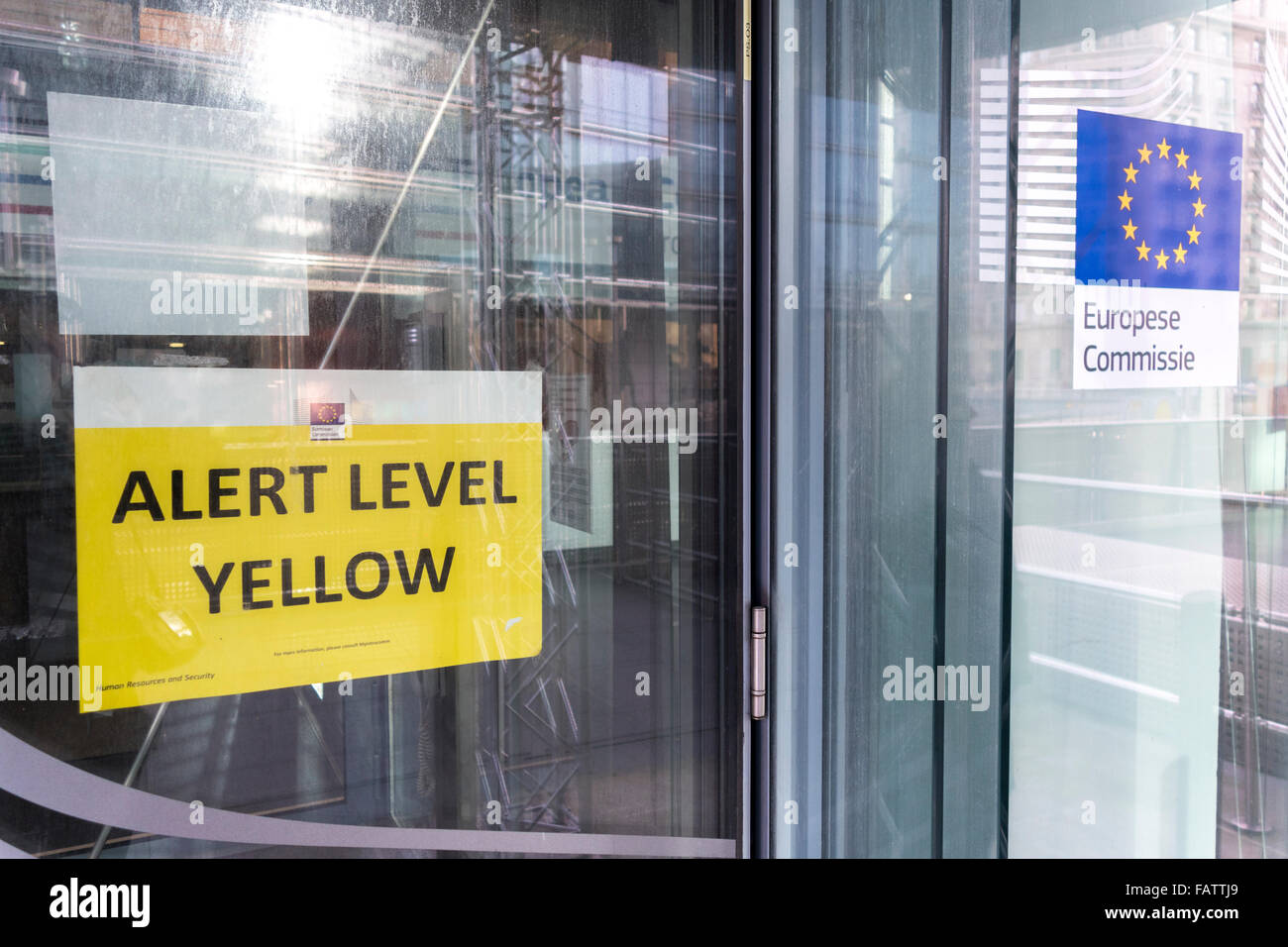Brussels, European Commission. Charlemagne Building. Sign at entrance indicating security or terrorist threat Alert - Stock Image