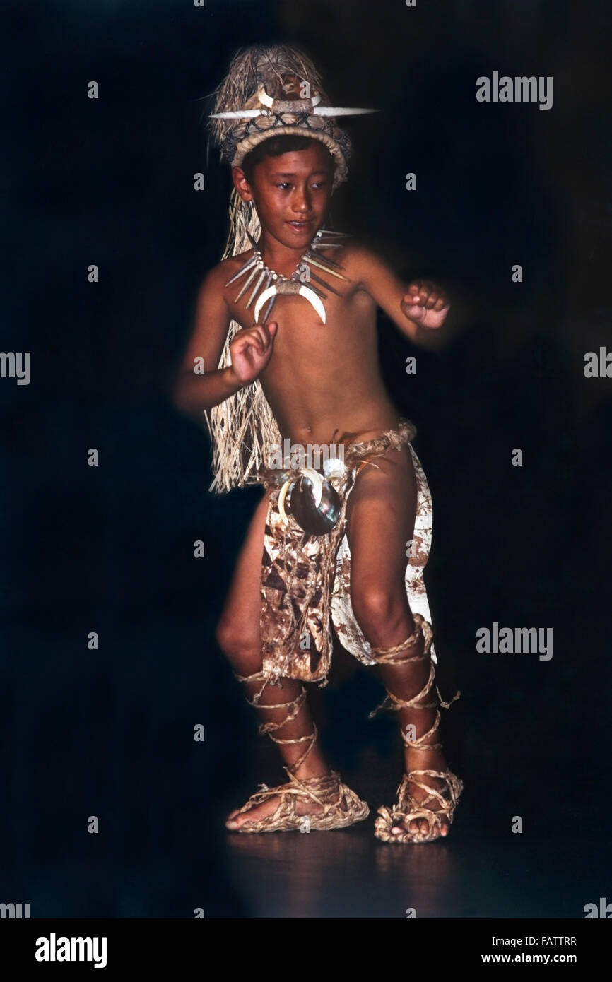 Young Polynesian boy performing in national Dancer of the Year competition finals. - Stock Image