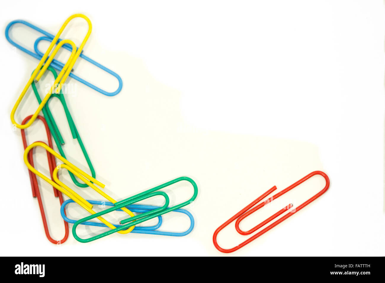 A chain of mutli-colored paper clips - Stock Image