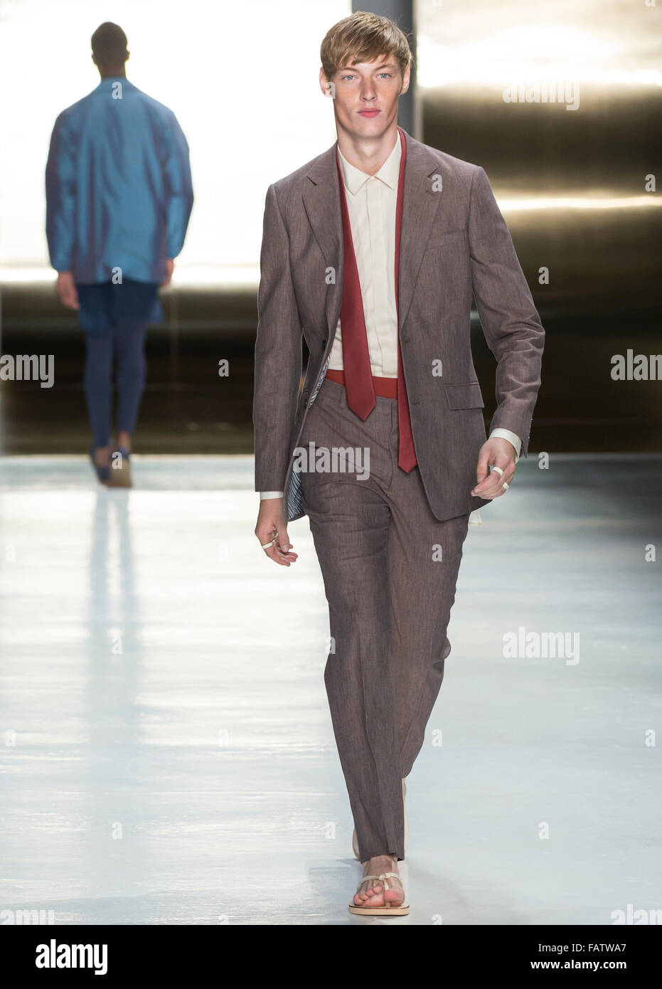 NEW YORK, NY - JULY 16, 2015: Roberto Sipos walks the runway during the Perry Ellis show at New York Fashion Week - Stock Image