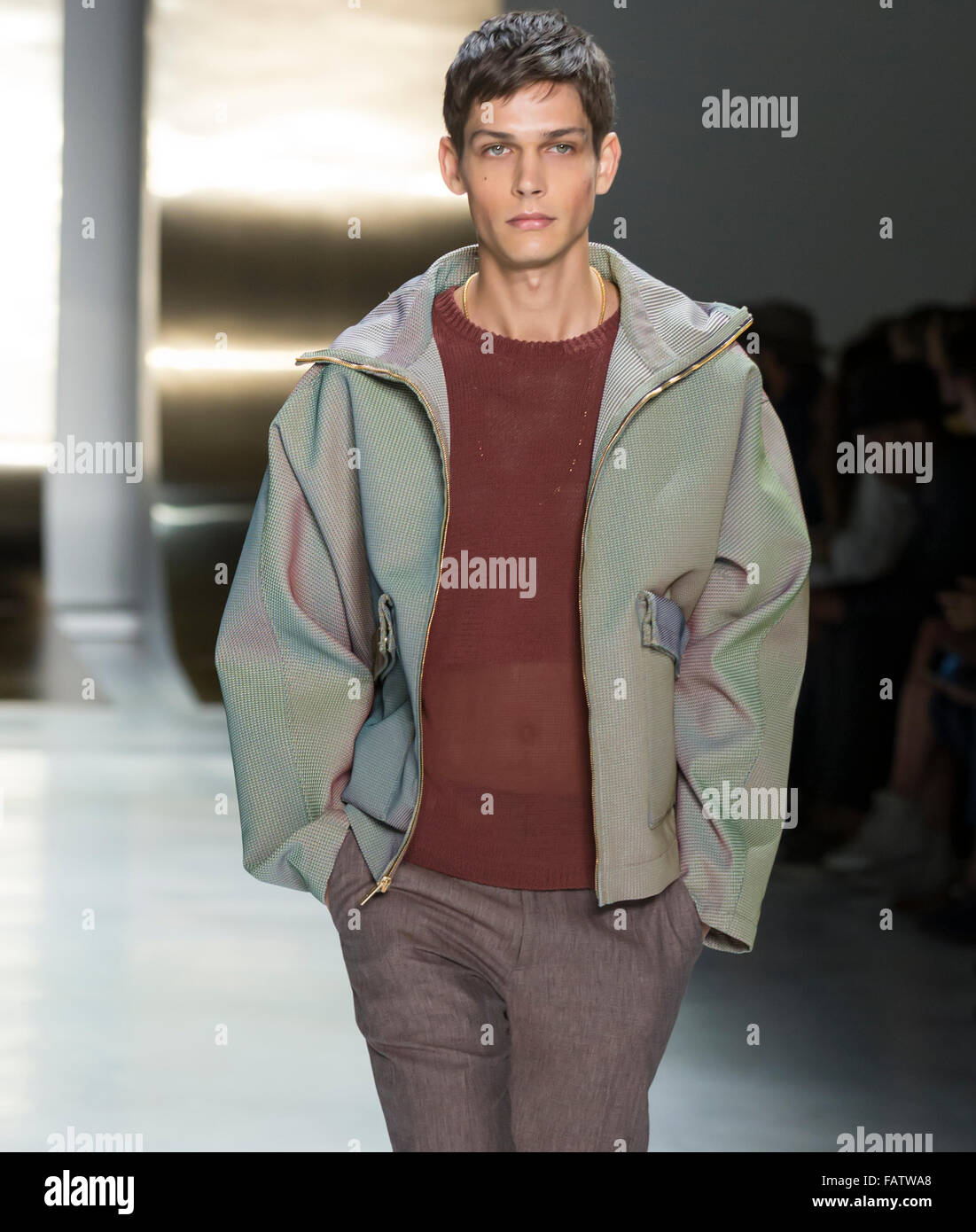 NEW YORK, NY - JULY 16, 2015: Ethan James walks the runway during the Perry Ellis show at New York Fashion Week - Stock Image