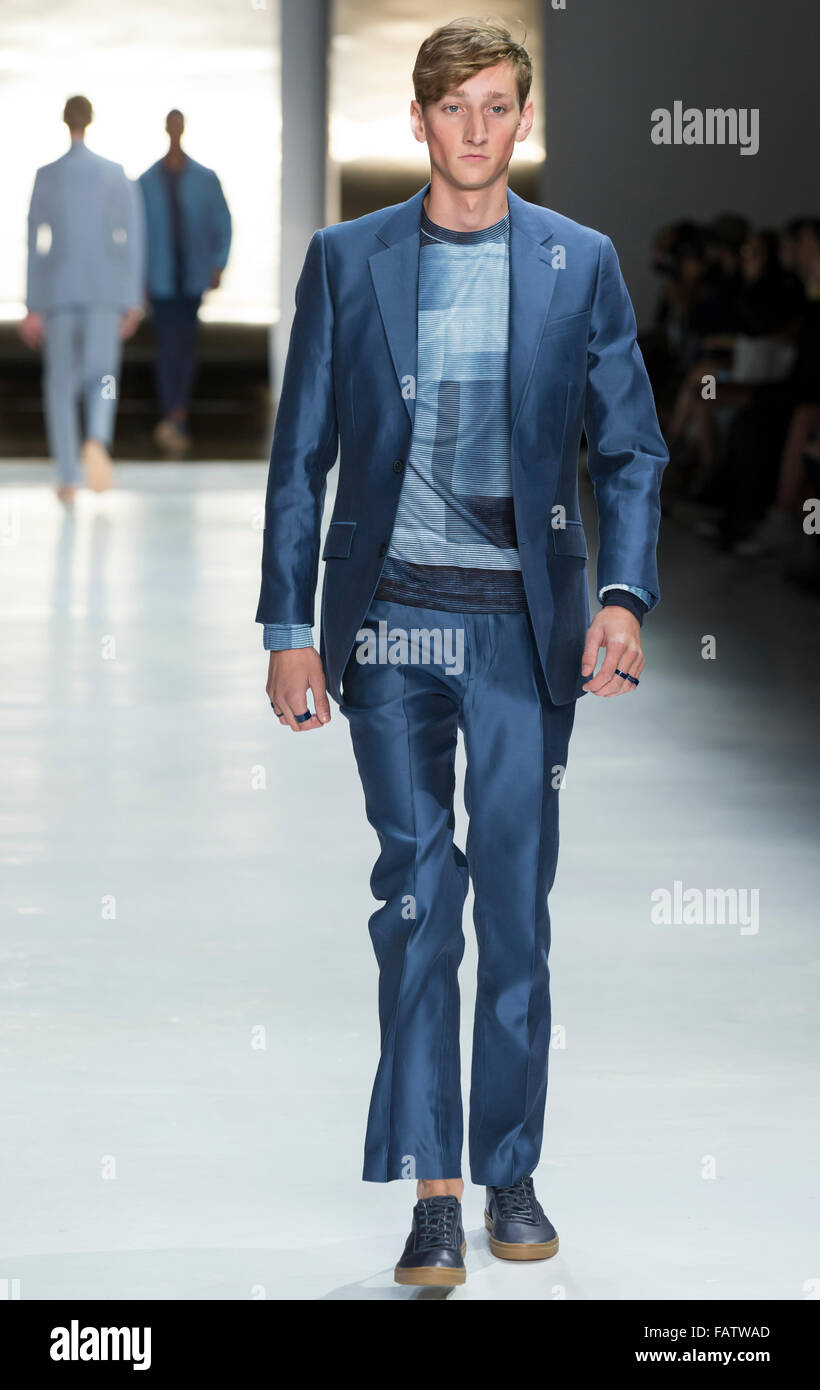 NEW YORK, NY - JULY 16, 2015: Tom Gaskin walks the runway during the Perry Ellis show at New York Fashion Week Men's - Stock Image