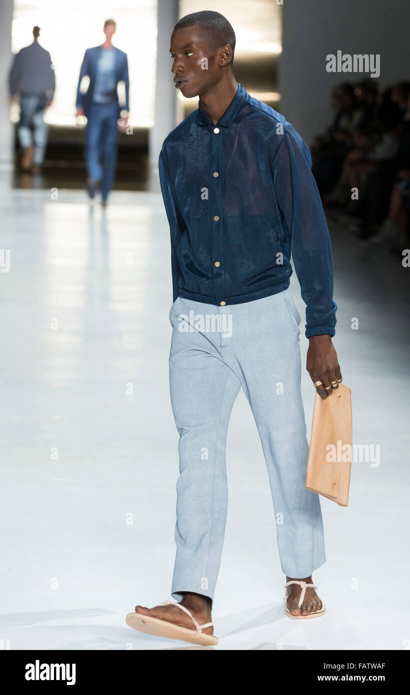 NEW YORK, NY - JULY 16, 2015: Adonis Bosso walks the runway during the Perry Ellis show at New York Fashion Week - Stock Image