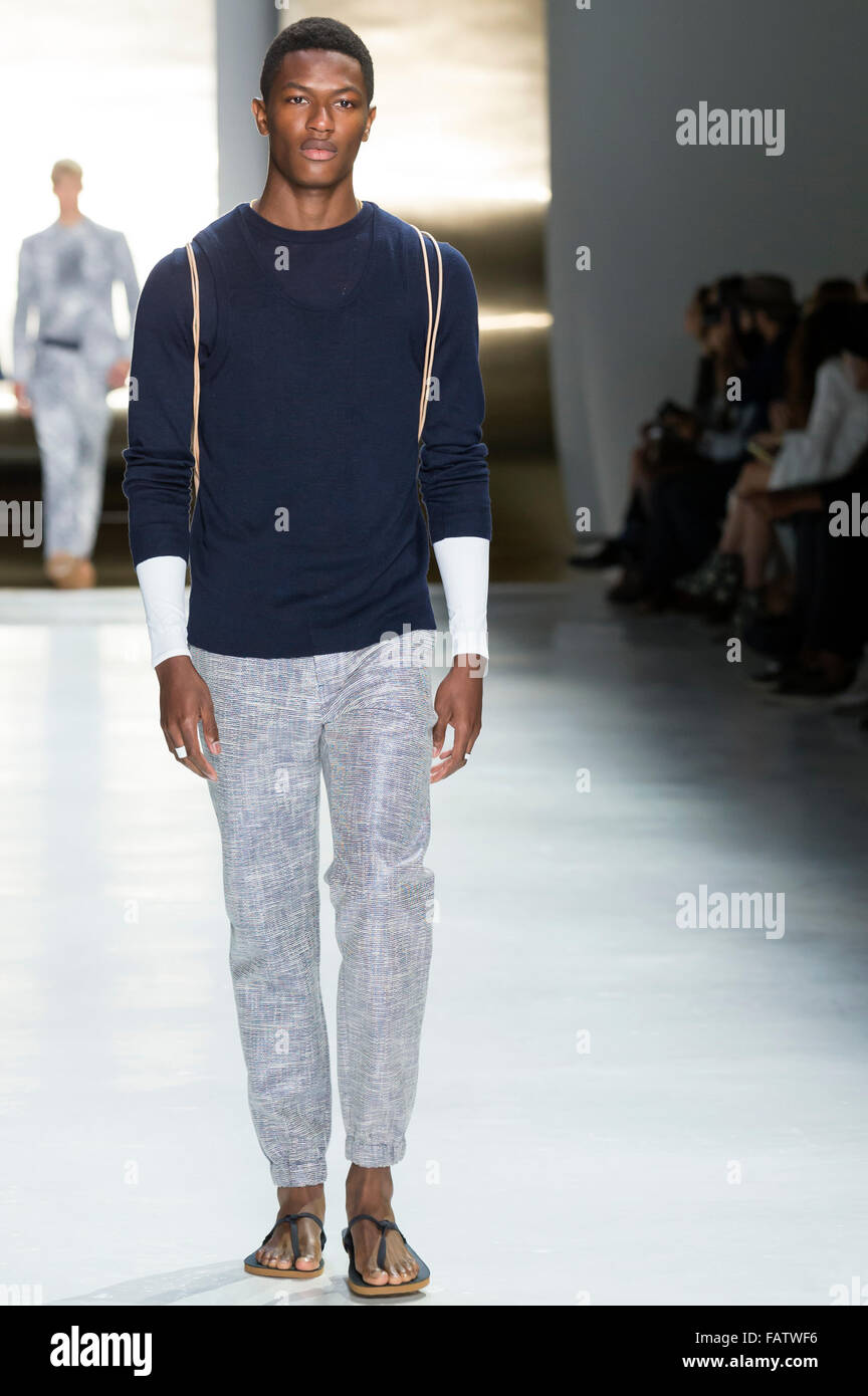 NEW YORK, NY - JULY 16, 2015: Hamid Onifade walks the runway during the Perry Ellis show at New York Fashion Week - Stock Image