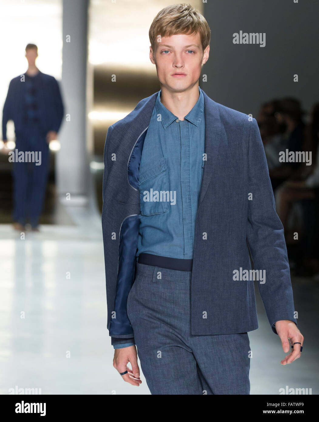 NEW YORK, NY - JULY 16, 2015: Dane Bell walks the runway during the Perry Ellis show at New York Fashion Week Men's - Stock Image