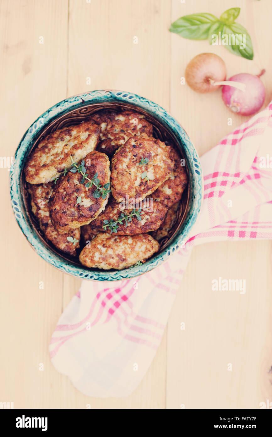 homemade fishcakes, top view - Stock Image