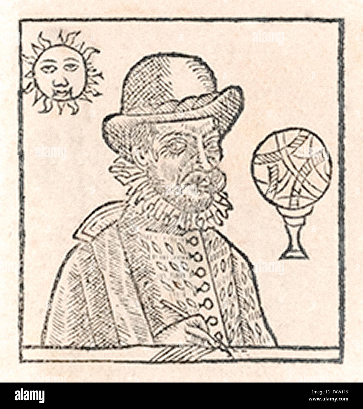 Nostradamus woodcut portrait from 1644 edition of his prophecies. - Stock Image