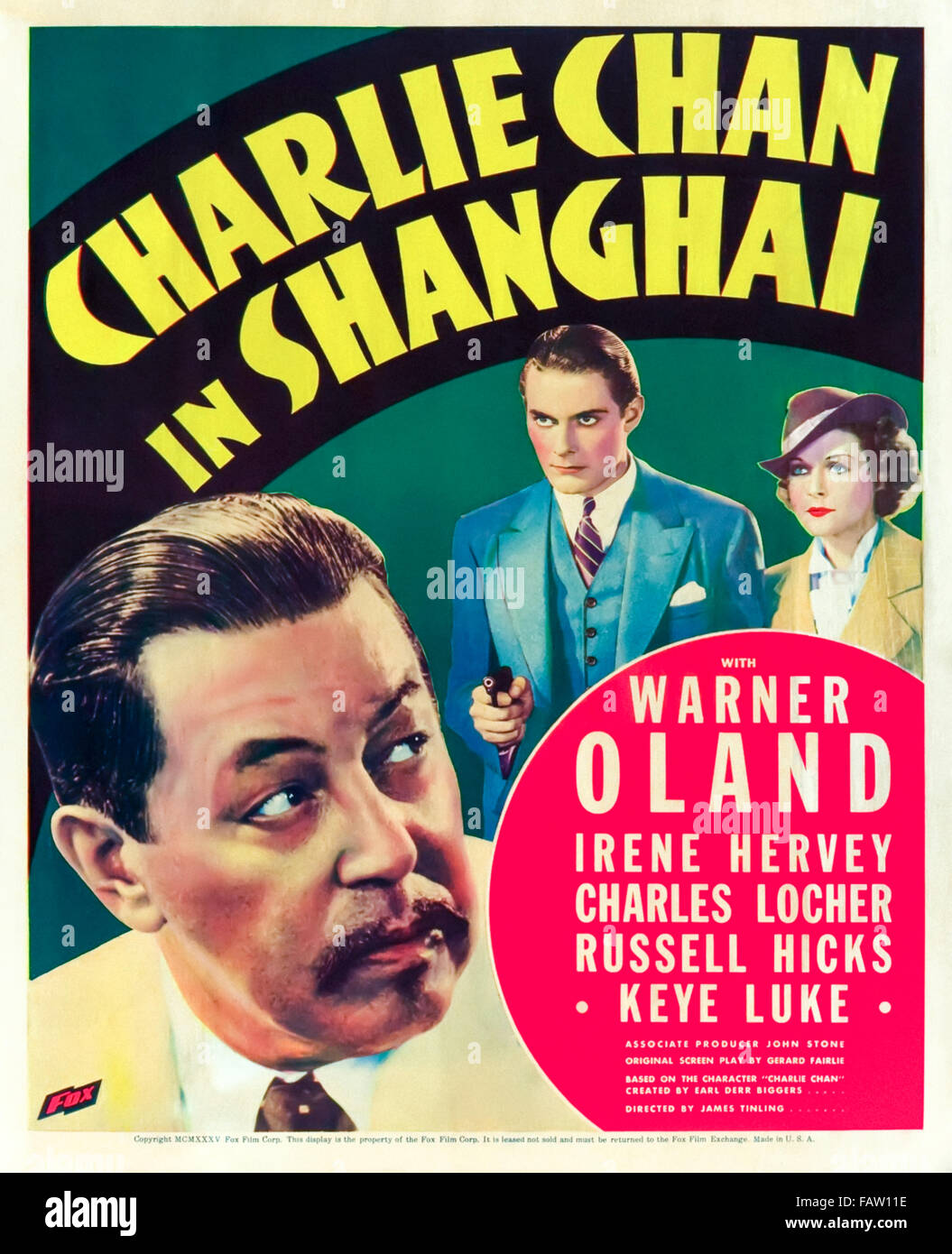 'Charlie Chan in Shanghai' 1935 poster. In this film directed by James Tinling, Charlie Chan (Warner Oland) - Stock Image