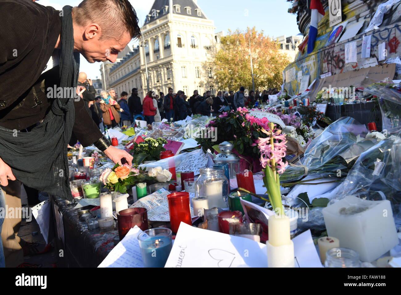 November 18th, 2015 - Paris  Place de la Republique after the Paris terror attack.  Paris terror attack leaves up Stock Photo