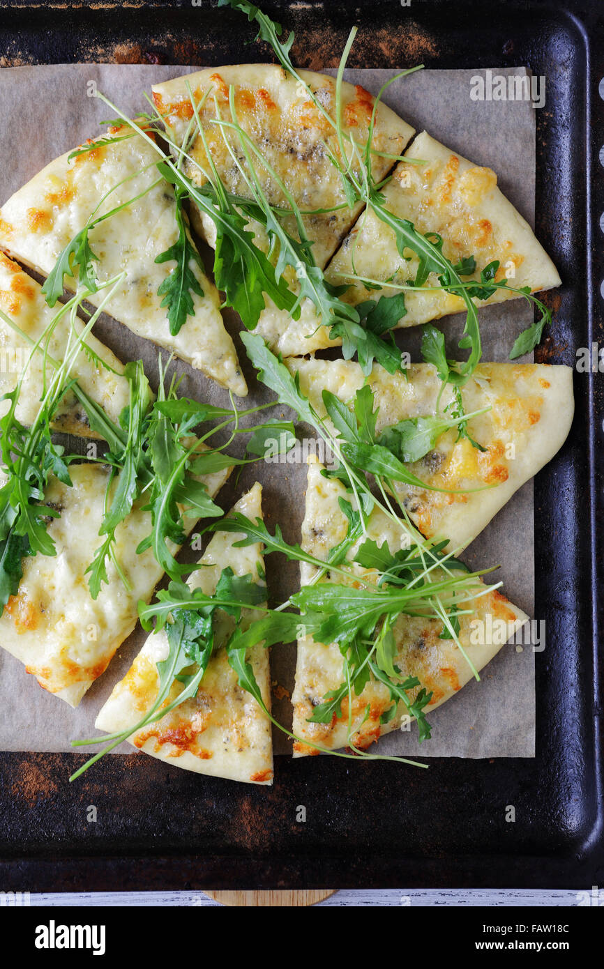 flat bread with cheese, pizza top - Stock Image