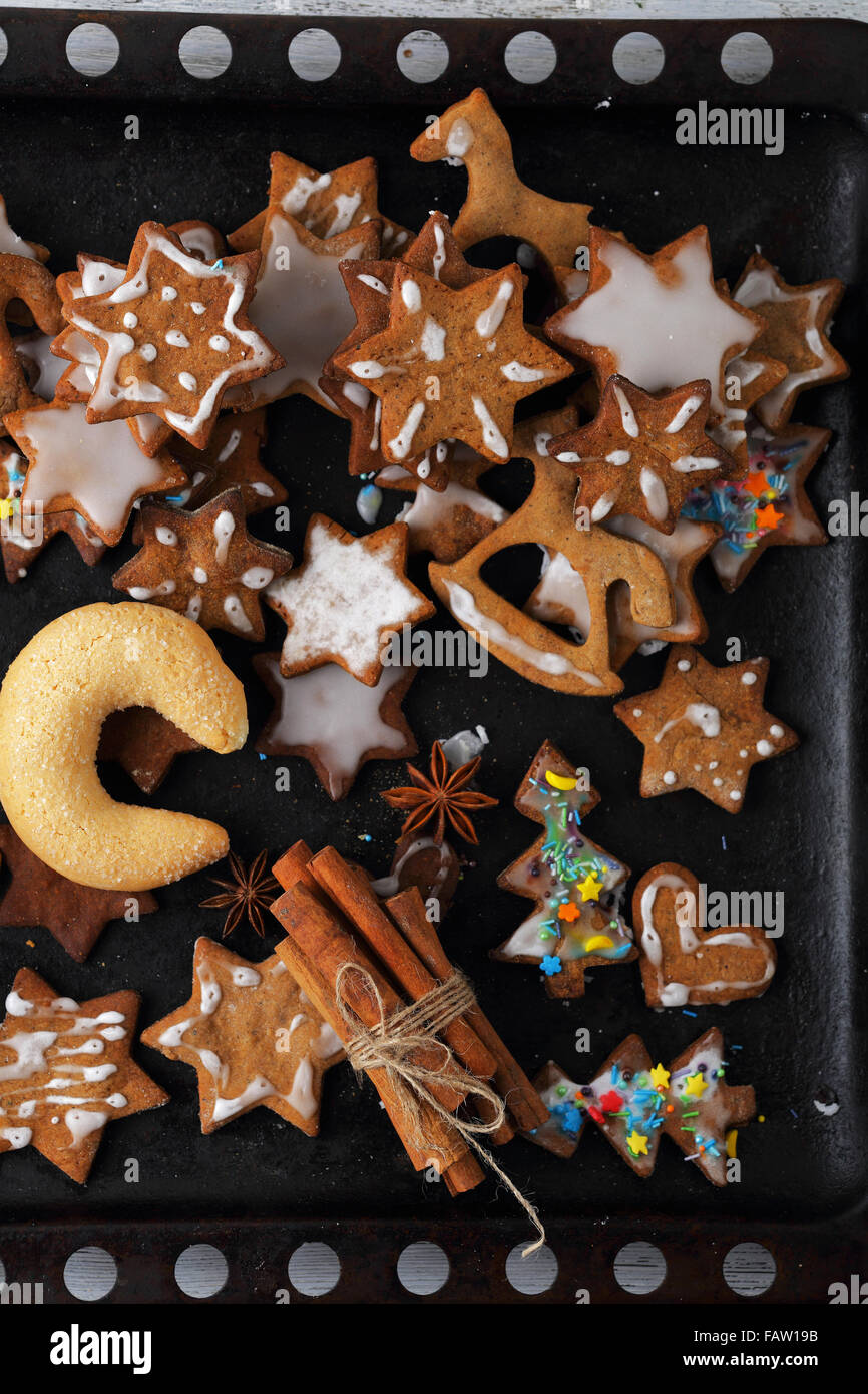 sweet cookies for christmas, food ctop view - Stock Image