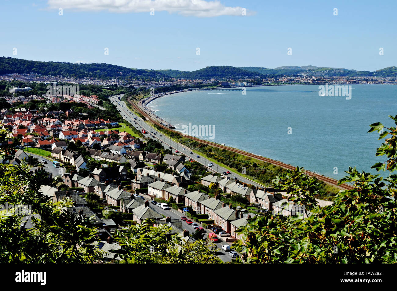 View of Colwyn Bay, North Wales, U.K.  from an elevated viewpoint, - Stock Image