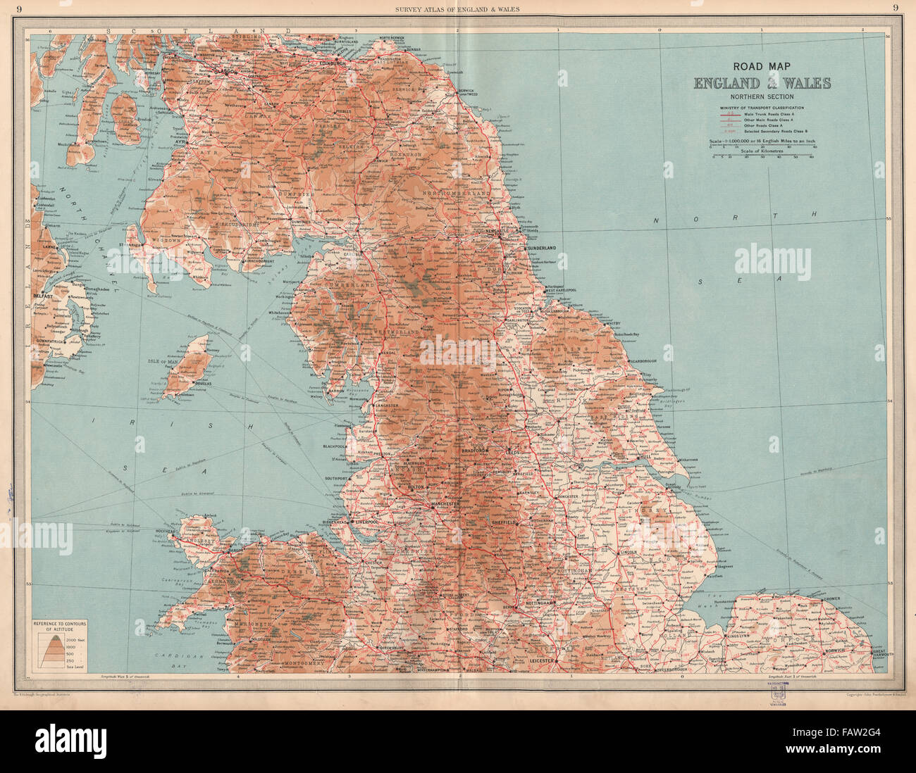 Large Map Of England.England Wales North Road Map A B Roads Pre Motorways Large