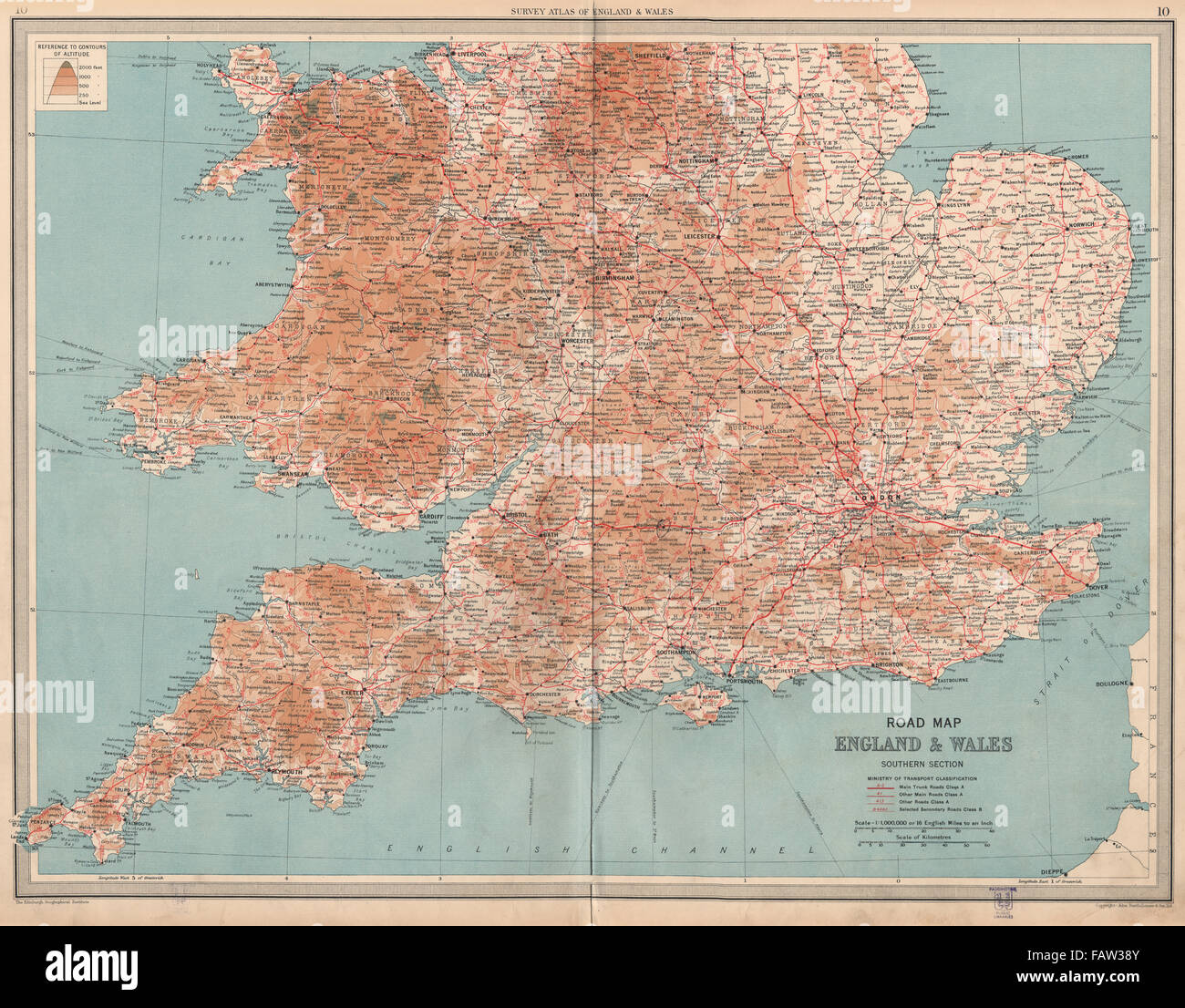 Large Detailed Map Of England.England Wales South Road Map A B Roads Pre Motorways Large