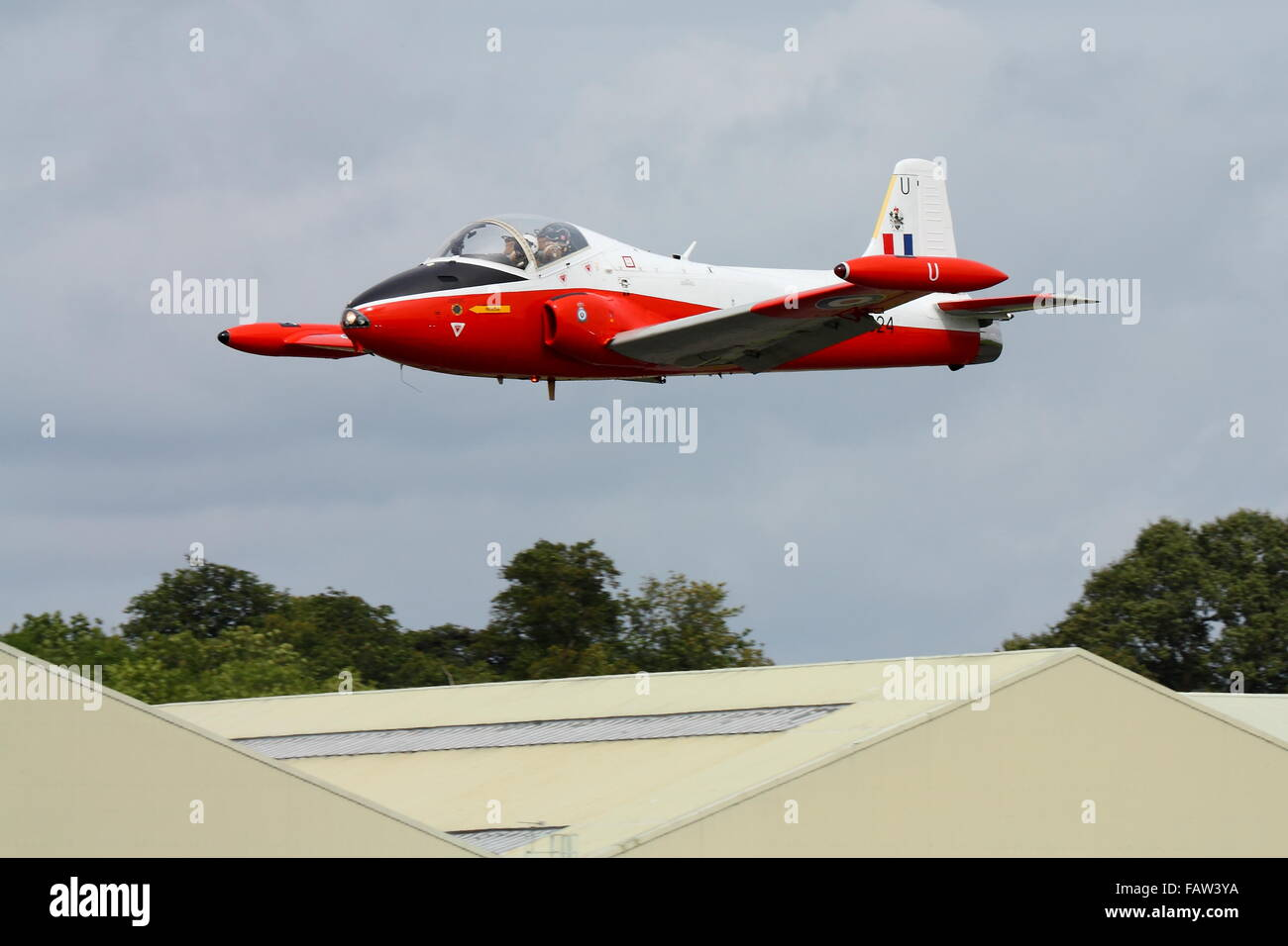 BAC Jet Provost T5A flying low over Dunsfold Aerodrome in Surrey Stock Photo