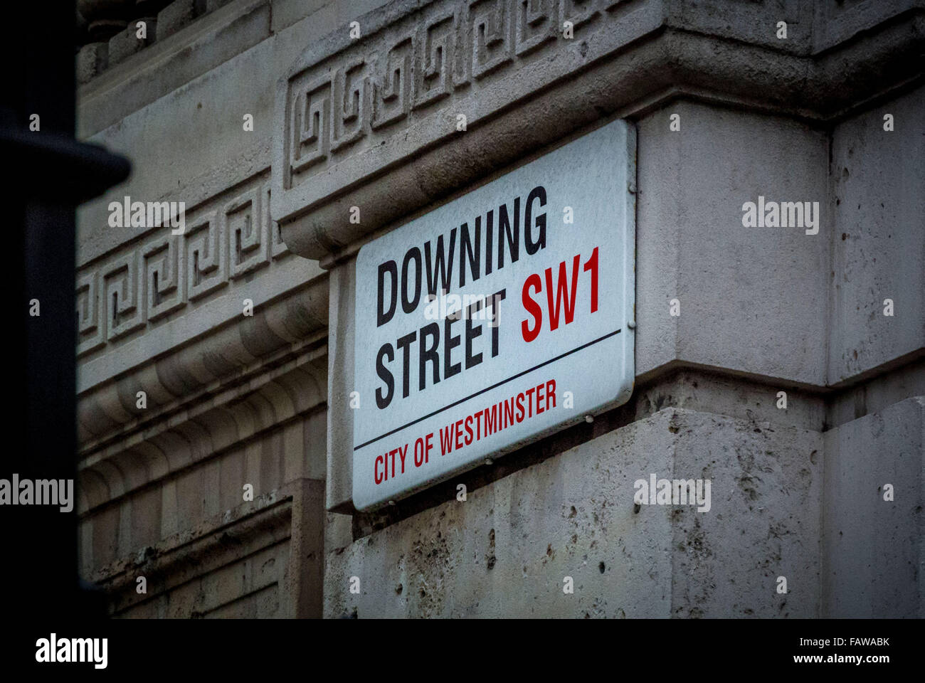Downing Street SW1, city of Westminster, sign in London, UK. - Stock Image