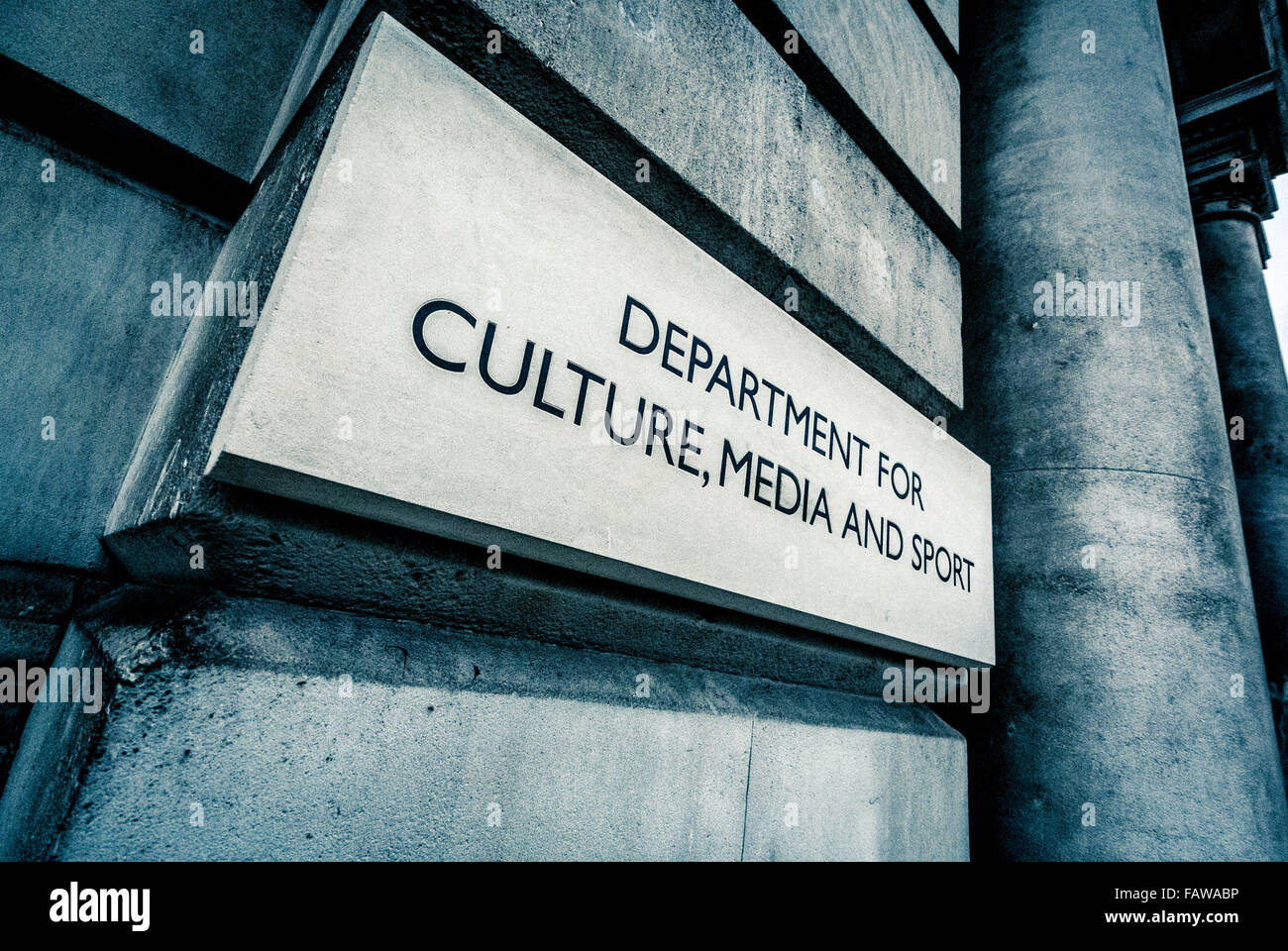 Department for Culture, Media and sport, sign on building in Whitehall, London, UK. - Stock Image