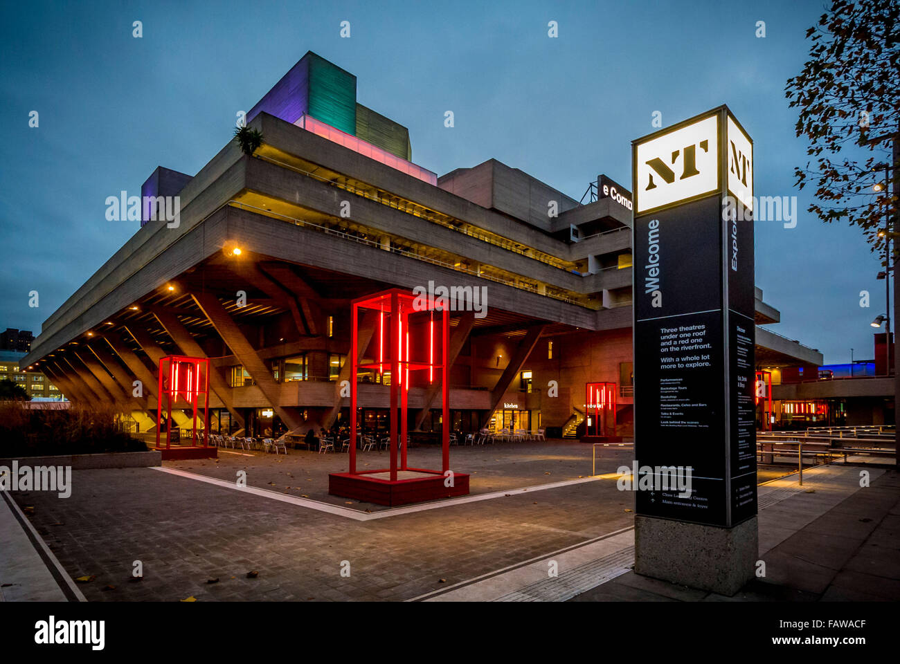 National Theatre on the South bank of the river Thames, London, UK. - Stock Image