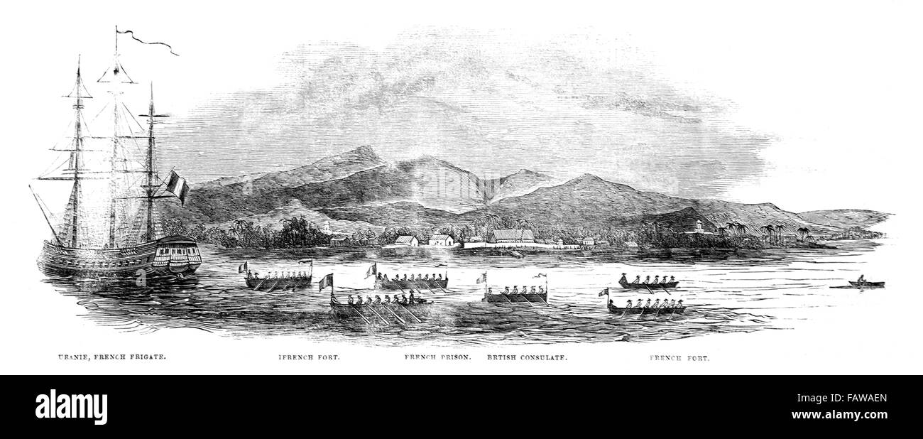 The French blockade of Tahiti; Tahitian War of Independence 1844; Illustrated London News July 1844; Black and White - Stock Image