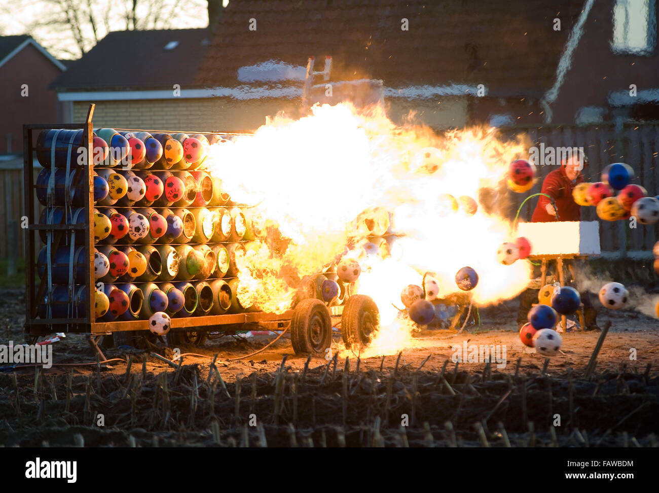 ENSCHEDE, NETHERLANDS - DEC 31, 2015: Carbide exploding is a tradition on new year's eve in The Netherlands - Stock Image
