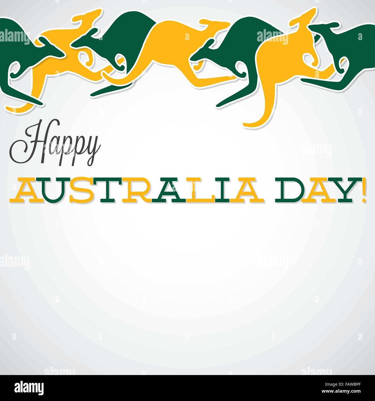 Kangaroo line Australia Day card in vector format. Stock Vector