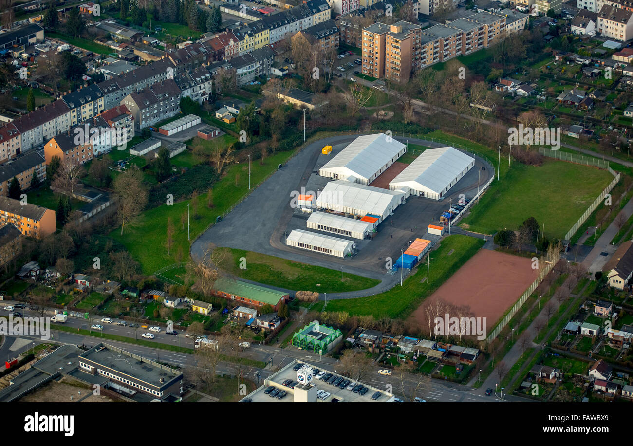 Refugee shelters on the former sports ground at the Grabelohstraße, refugee tents, refugee crisis, Essen, Ruhr - Stock Image