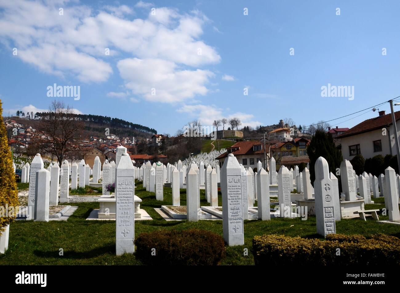 Islamic Muslim Tombstones of Bosnian soldiers at Martyrs Memorial Cemetery Sarajevo Bosnia Stock Photo