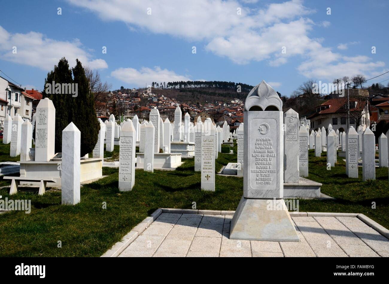 Islamic Muslim Tombstones of Bosnian soldiers at Martyrs Memorial Cemetery Sarajevo Bosnia - Stock Image