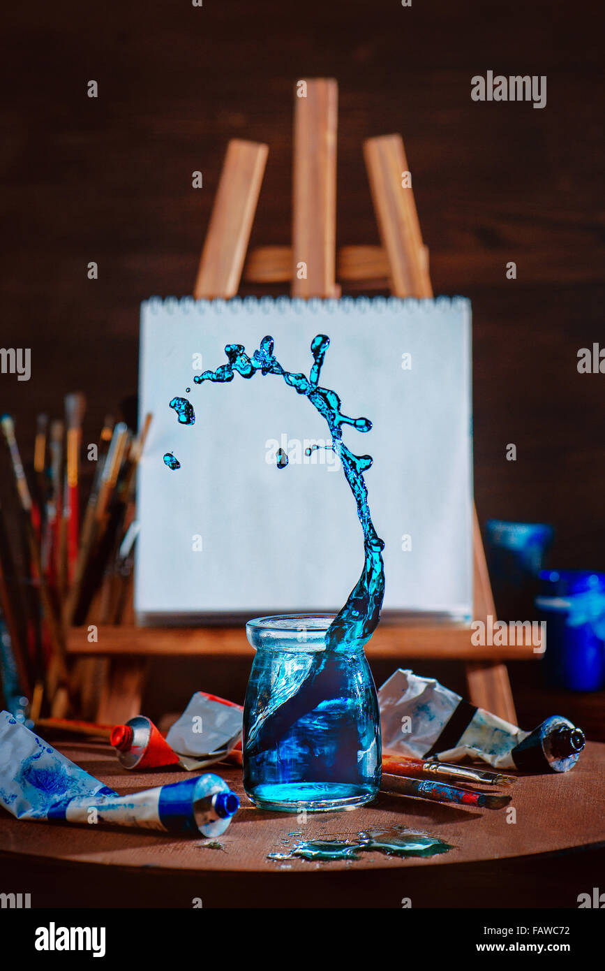 Painting waves - Stock Image