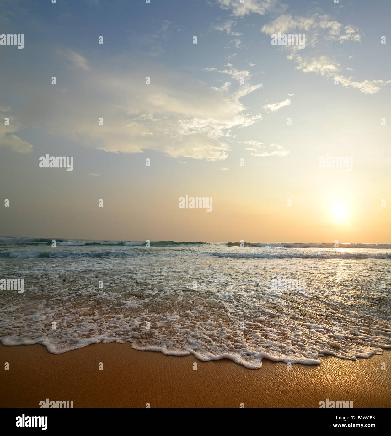 Waves with foam on a sandy coast of the ocean - Stock Image