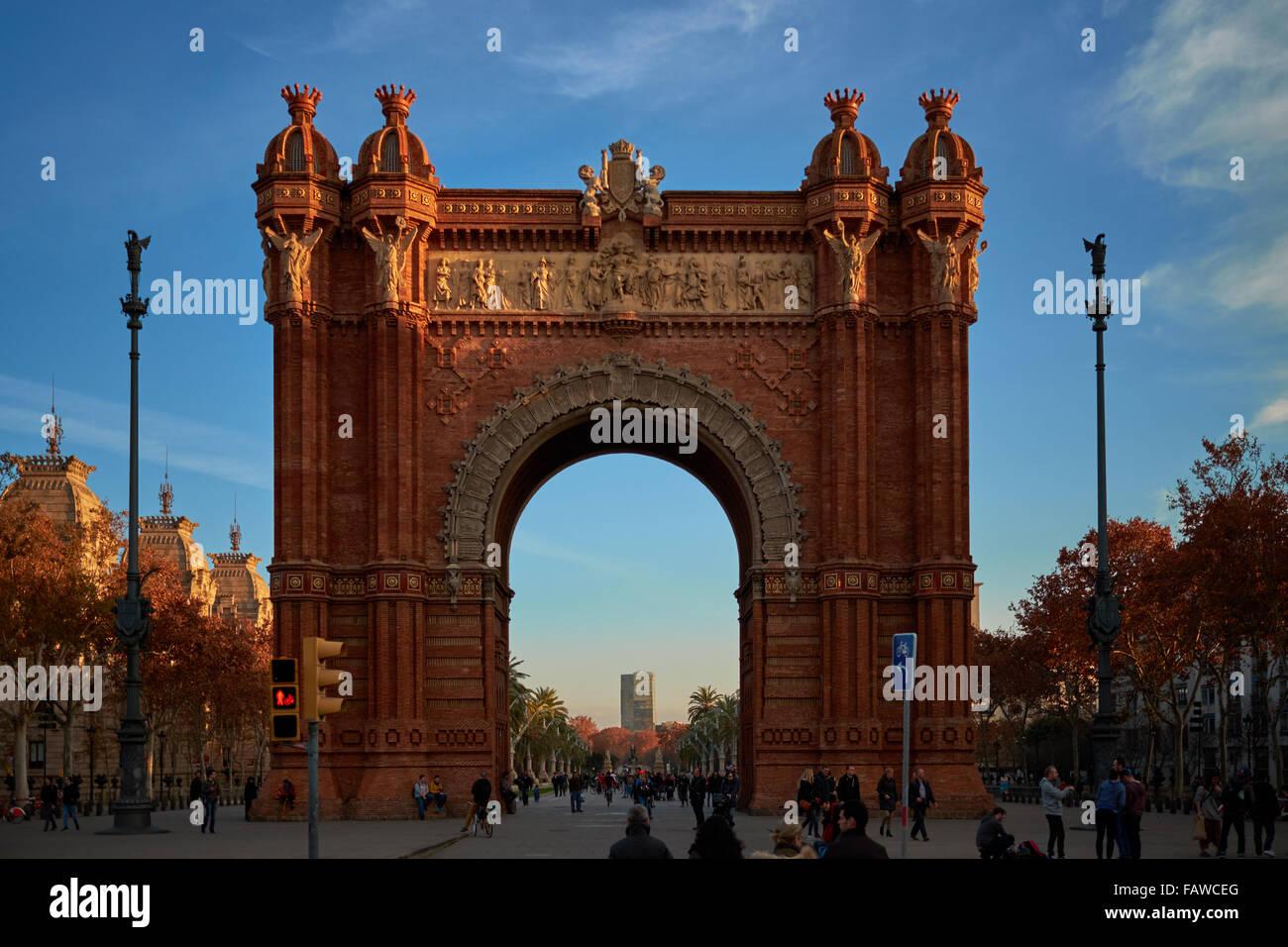 Arc de Triomf, or Arco de Triunfo, in Barcelona. Memorial or triumphal arch. It was built as the main access gate Stock Photo