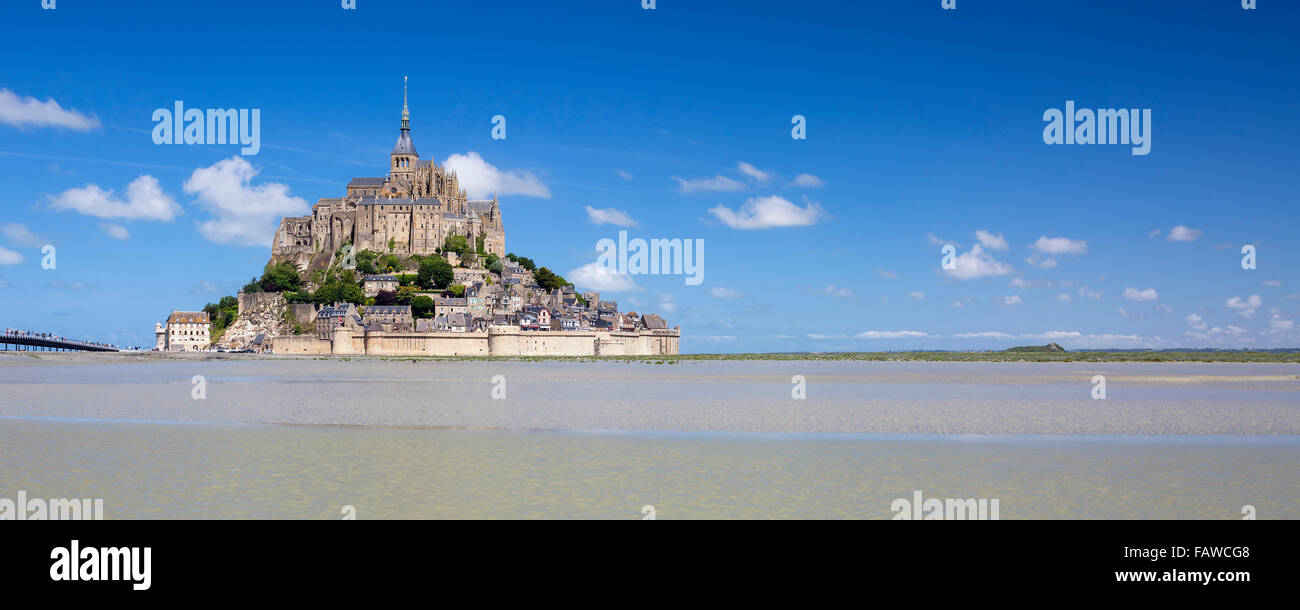 Panoramic view of Mont-Saint-Michel with blue sky, France. Stock Photo