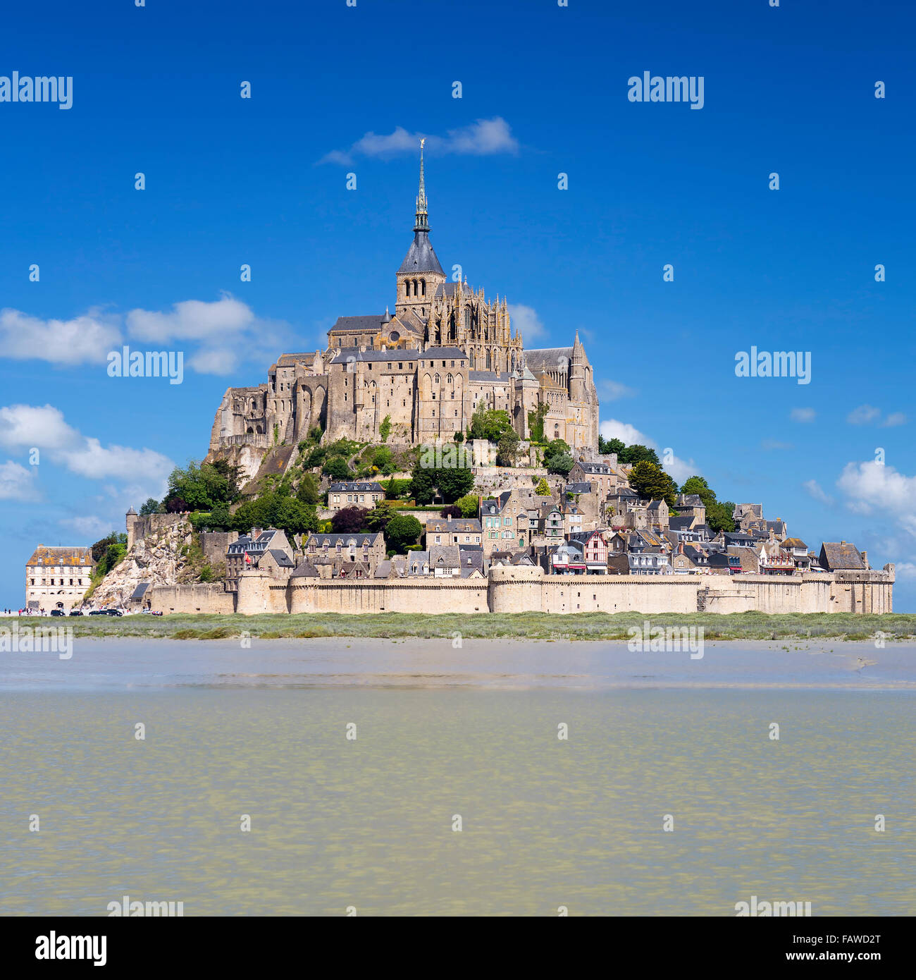 Mont-Saint-Michel with blue sky, France. Stock Photo