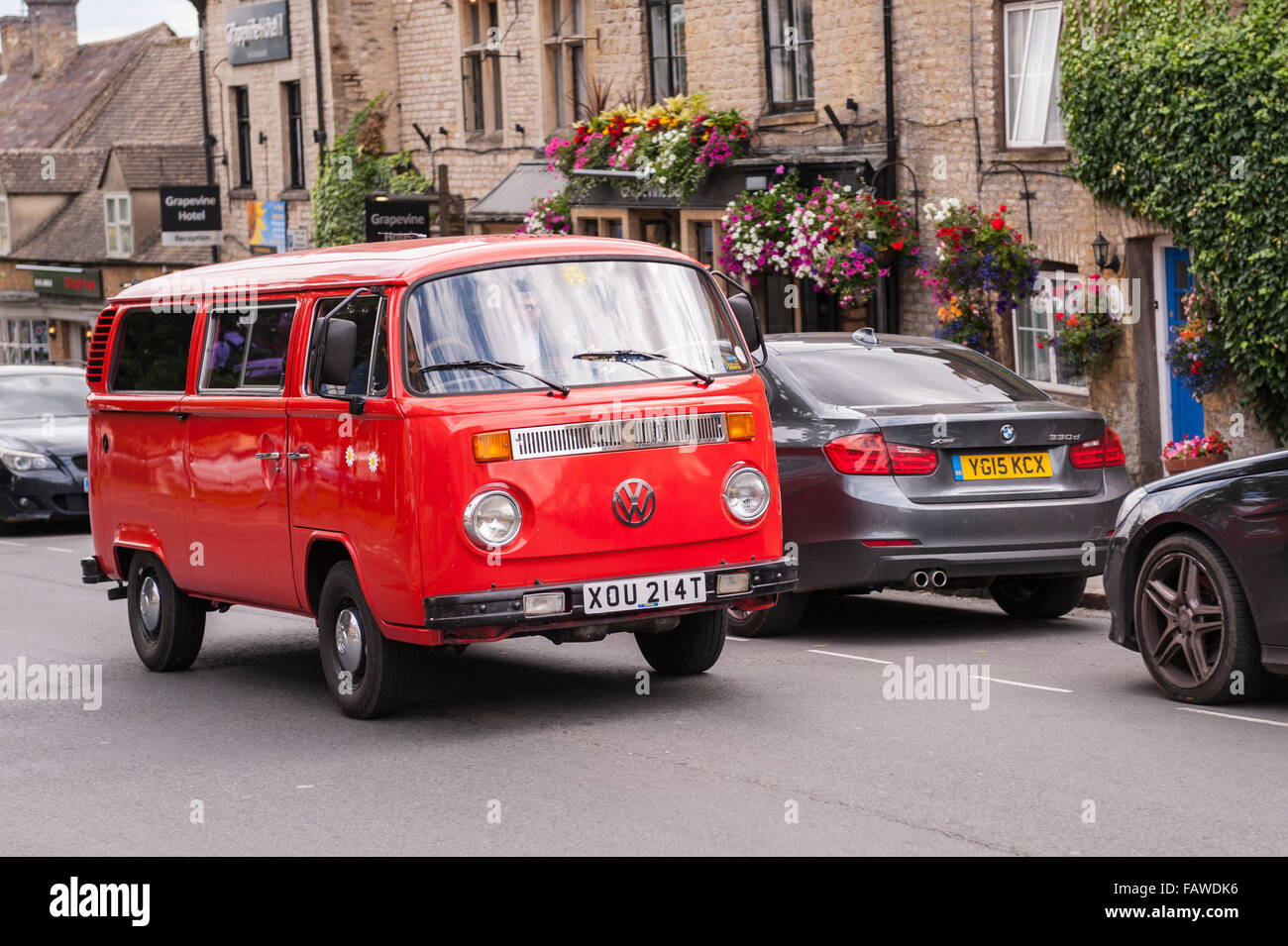 An old red VW campervan in the Uk - Stock Image