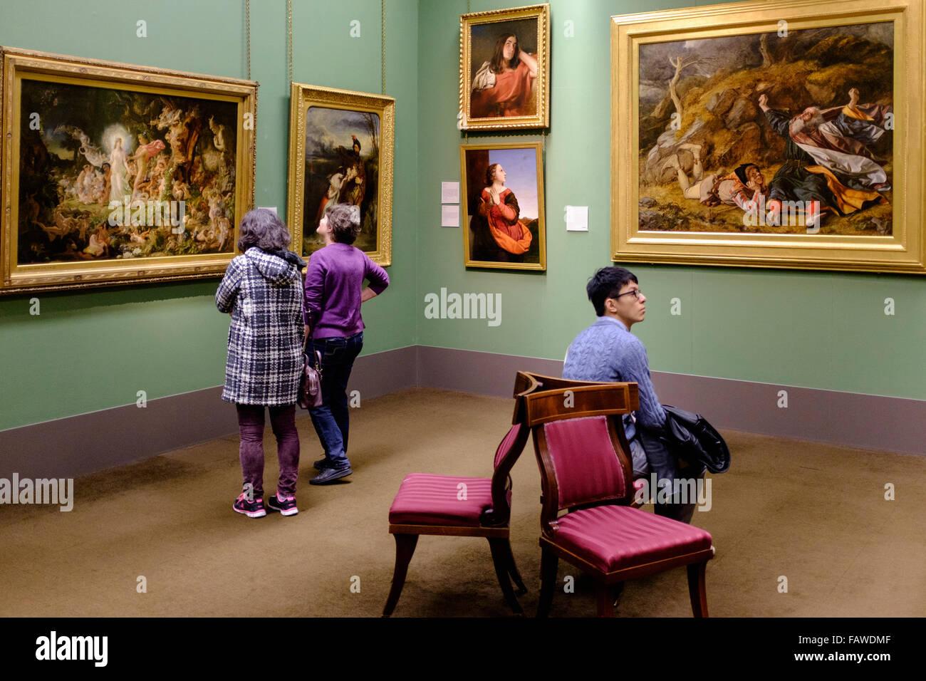 Interior of Scottish National Gallery art museum in Edinburgh Scotland United Kingdom - Stock Image