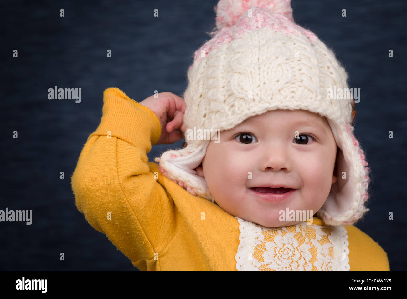 Beanie Baby Stock Photos Images Alamy Winter Hat Wh 94 A Smiling Girl Wearing Knit Image