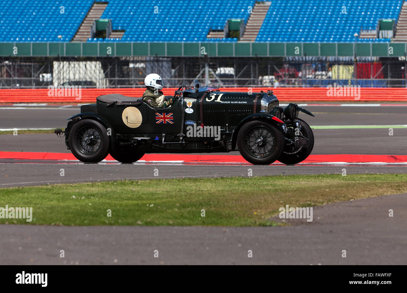 A Bentley 4.5L Le Mans, competing in the Kidston Trophy for Pre War  Sports Cars,  at the 2015 Silverstone Classic - Stock Image